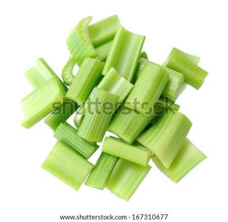 chopped celery isolated on white background  - stock photo