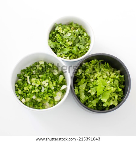 Chopped Celery, Spring onion,  parsley ingredientThai style breakfast- (rice congee mixed with meat) - stock photo