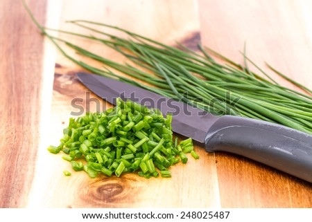 chopped chive  - stock photo