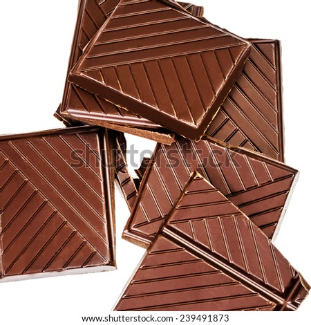 Chopped chocolate pieces  bar isolated on white background.  - stock photo