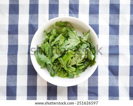 Chopped Coriander also known as Cilantro  - stock photo