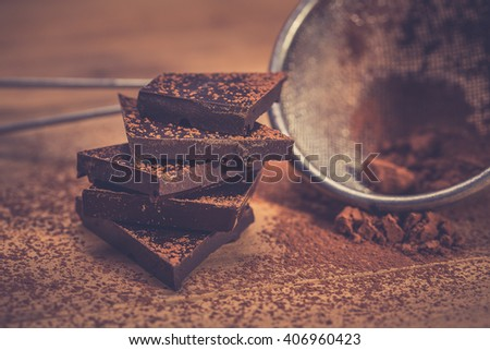 Chopped dark chocolate - stock photo