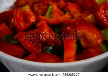 Chopped Fresh Mountain Tomato from a traditional Lebanese salad dish  - stock photo