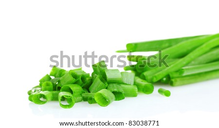 chopped green onion isolated on white - stock photo