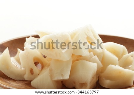 chopped lotus root - stock photo