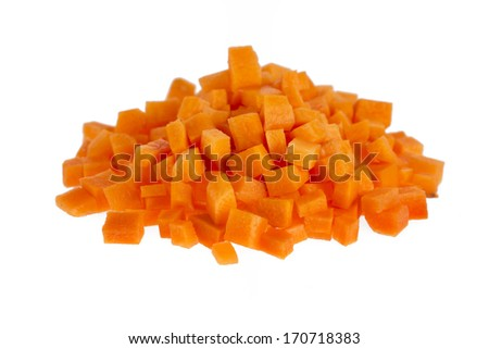 Chopped raw carrots isolated on white background. - stock photo