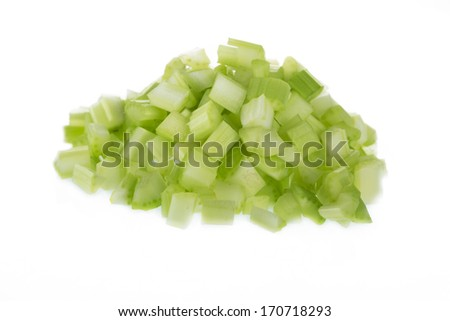 Chopped raw celery isolated on white background. - stock photo