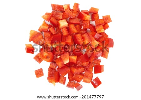 Chopped red Bell Pepper - stock photo