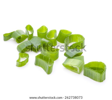 chopped spring onion or scallion isolated on white background cutout - stock photo