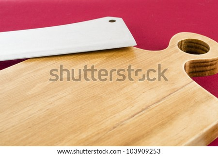 Chopping Board and Cleaver - stock photo