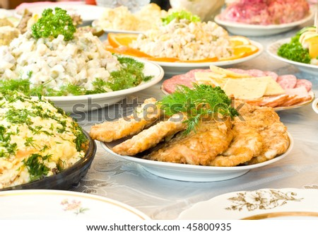Chops and cutlets. Banquet in the restaurant. Focused on one dish (shallow DOF) - stock photo