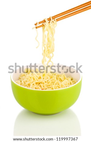 chopsticks holding asian noodles isolated on white - stock photo