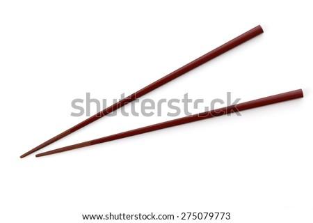 Chopsticks isolated on white - stock photo