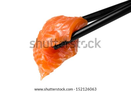 Chopsticks with sliced raw trout isolated on white background - stock photo