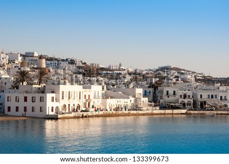 Chora Mykonos town near the sea - a place in Greece, which should visit - stock photo