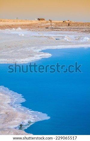 Chott el Djerid, salt lake in Tunisia - stock photo
