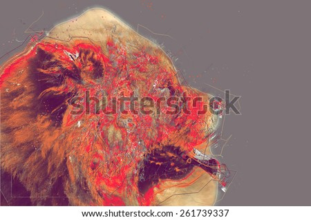 Chow Chow dog portrait. Abstract artwork illustration - stock photo