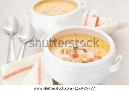 Chowder soup with vegetables, curry and heavy cream - stock photo