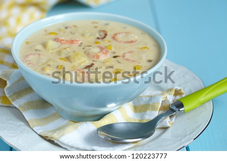 Chowder with Sweet Corn, Shrimp and Bacon - stock photo