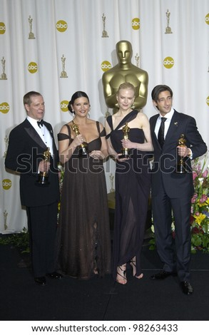 CHRIS COOPER (left), CATHERINE ZETA-JONES, NICOLE KIDMAN & ADRIEN BRODY at the 75th Academy Awards at the Kodak Theatre, Hollywood, California. March 23, 2003 - stock photo