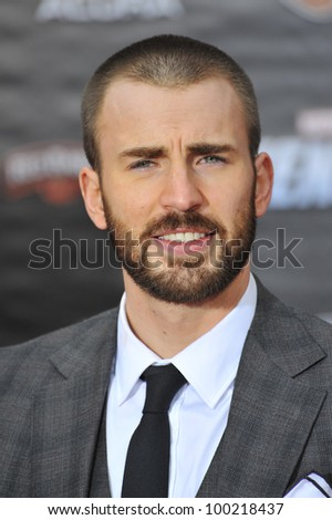 "Chris Evans at the world premiere of his new movie ""Marvel's The Avengers"" at the El Capitan Theatre, Hollywood. April 11, 2012  Los Angeles, CA Picture: Paul Smith / Featureflash - stock photo"