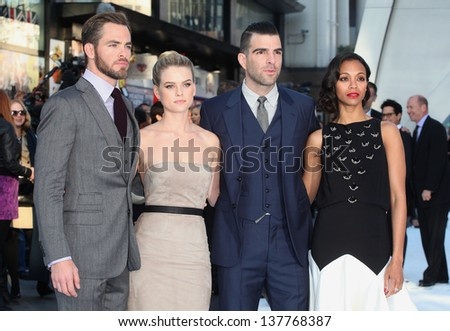 Chris Pine, Alice Eve, Zachary Quinto and Zoe Saldana arriving for the UK premiere of 'Star Trek Into Darkness' at The Empire Cinema, London. 02/05/2013 - stock photo
