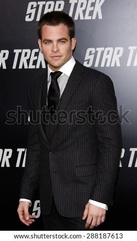Chris Pine at the Los Angeles premiere of 'Star Trek' held at the Grauman's Chinese Theater in Hollywood on April 30, 2009.  - stock photo
