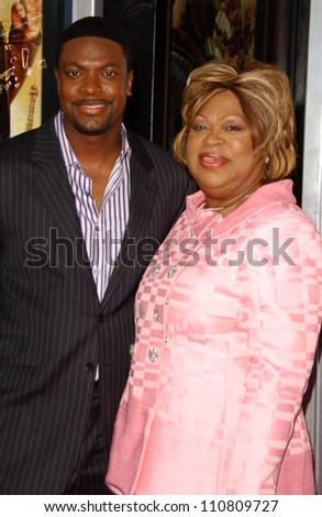 "Chris Tucker and his mother at the Los Angeles Premiere of ""Rush Hour 3"". Mann's Chinese Theater, Hollywood, CA. 07-30-07 - stock photo"