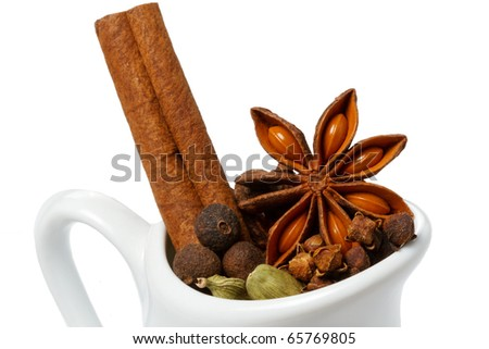 Chrismas spices, isolated on white - stock photo