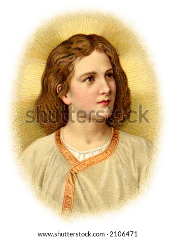 Christ Child - a circa 1910 vintage Christmas illustration. - stock photo