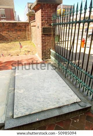 Christ Church Burial Ground, Ben Franklin grave site - stock photo