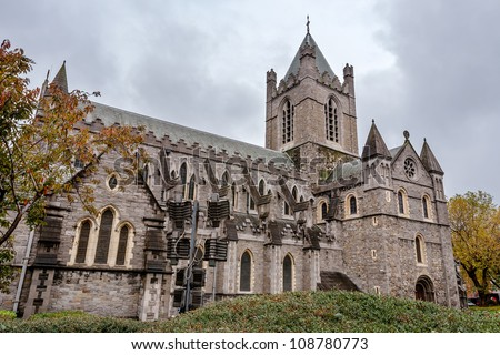 Christ Church Cathedral (Holy Trinity) in Dublin, Ireland - stock photo