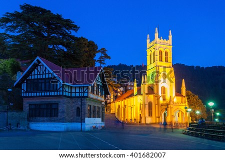 Christ Church in Shimla is the second oldest church in North India - stock photo