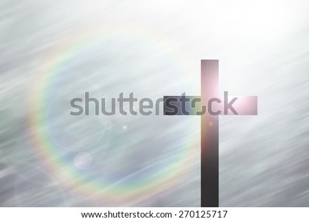 christ cross on abstract motion blur background with lighting lens flare and rainbow for web-design, colorful background, blurred, wallpaper - stock photo