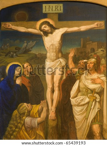 Christ on the cross from Vienna chruch Kirche am Hof - stock photo