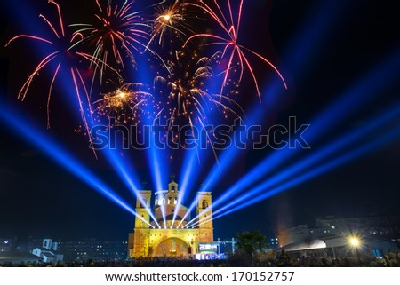 Christ's Resurrection church in Podgorica,Montenegro,Christmas Eve - stock photo
