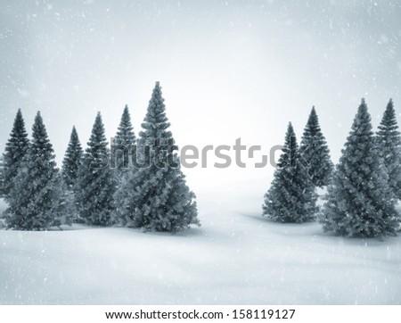 Christ scene, trees and snow  - stock photo