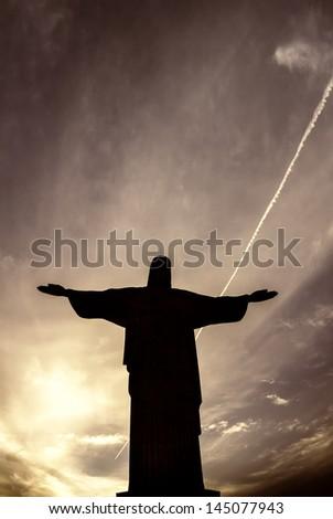 Christ the Redeemer in  Rio de Janeiro,Brazil - stock photo