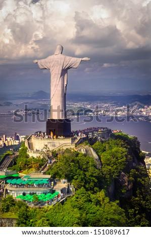 Christ the Redeemer statue on top of Corcovado, Rio de Janeiro, Brazil - stock photo