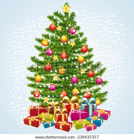 Christams tree with gifts. - stock photo