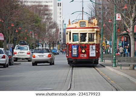 CHRISTCHURCH - August 22 2009: ChristChurch tram before tramway system was damaged by the Christchurh earthquake in 2011, New Zealand. - stock photo
