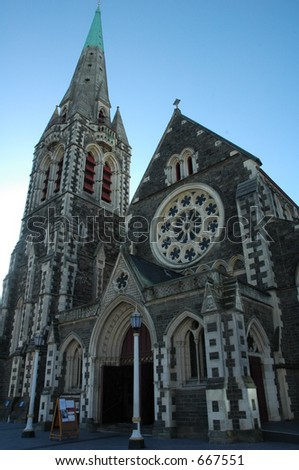 Christchurch Cathedral Square on a sunny day - stock photo