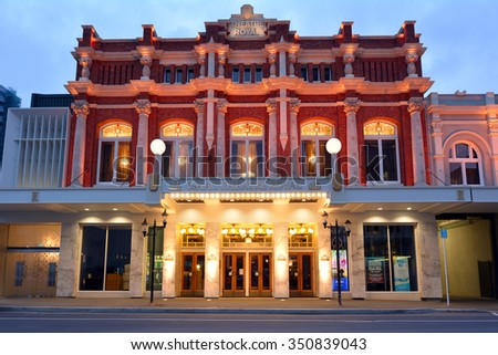 CHRISTCHURCH - DEC 04 2015:Isaac Theatre Royal. It's one of the most intricate rebuilding projects of the 2011 earthquake that damaged Christchurch CBD with an overall rebuild cost of NZ$40M. - stock photo