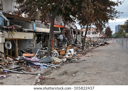 CHRISTCHURCH, NEW ZEALAND - APRIL 01: The retail heart and CBD are destroyed on April 01, 2011 in Christchurch by a giant earthquake. - stock photo
