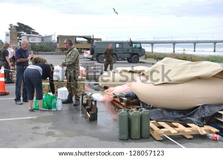 CHRISTCHURCH, NEW ZEALAND, FEBRUARY 26, 2011 - desalination plant set up by NZ Defence Force to provide fresh water after the earthquake in Christchurch, South Island, New Zealand, 22-2-2011 - stock photo