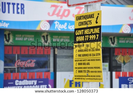 CHRISTCHURCH, NEW ZEALAND, FEBRUARY 22, 2011 - Signage for emergency contacts after the 6.3 magnitude earthquake in Christchurch, South Island, New Zealand, 22-2-2011 - stock photo