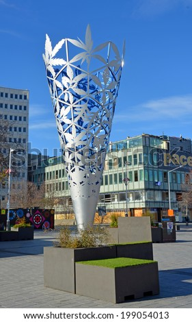 Christchurch, New Zealand - June 15, 2014: Chalice sculpture by Neil Dawson in Cathedral Square. - stock photo