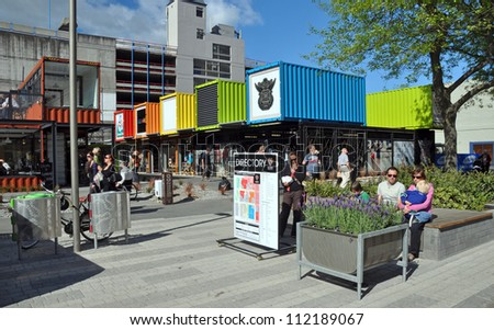 CHRISTCHURCH, NEW ZEALAND - NOVEMBER 03: A shipping container shopping area is opened as the first major earthquake reconstruction step on November 03, 2011 in Christchurch. - stock photo