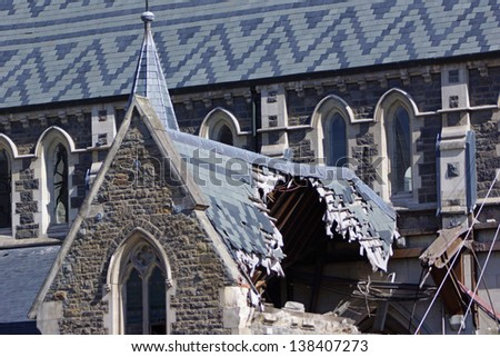 CHRISTCHURCH, NEW ZEALAND, NOVEMBER 16 - The iconic Anglican Cathedral remains a ruin in Christchurch, New Zealand, 16-11-2012. Debate still rages over the fate of the condemned building. - stock photo
