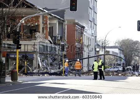 CHRISTCHURCH, NEW ZEALAND- SEPTEMBER 4:Image of part of a collapsed building in the CBD caused by earthquake on Sept 4, 2010 in Christchurch.  The 7.1 earthquake hit at 4:35am - stock photo